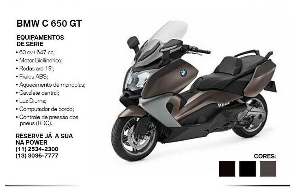 Tabela do maxi scooter BMW C 650 GT no Brasil