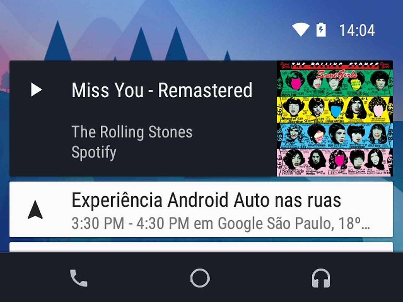 Tela mostrando uma das funções do Android Auto