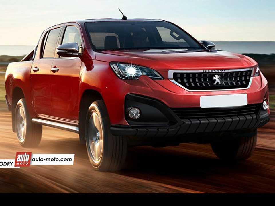 Projeção da futura picape média da Peugeot derivada da Toyota Hilux (crédito: Automoto)
