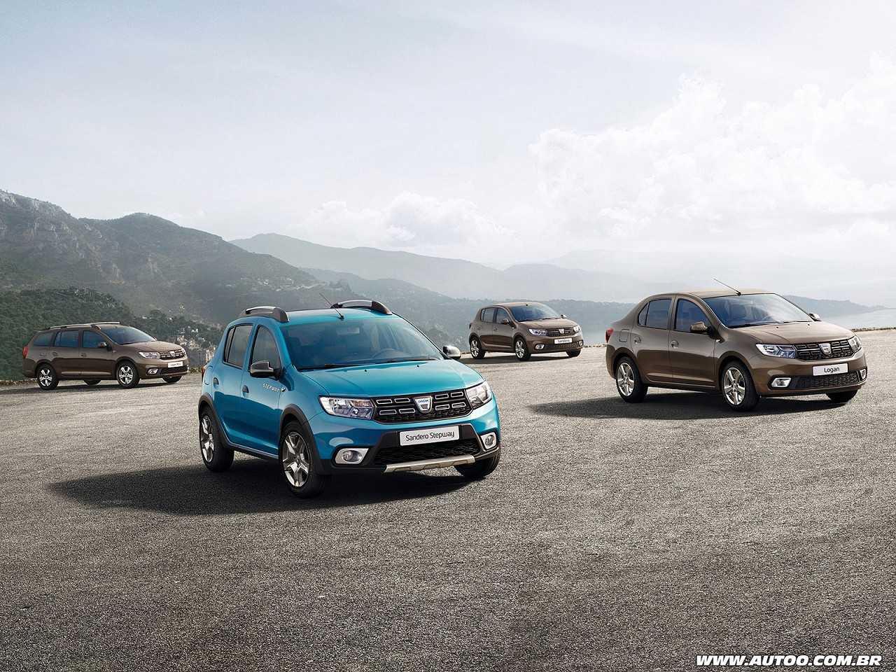 Gama Dacia Logan e Sandero com o facelift que será revelado no Salão de Paris