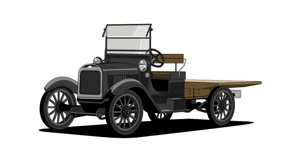 Acima uma ilustração da Chevrolet One-Ton de 1918, o início das picapes da marca