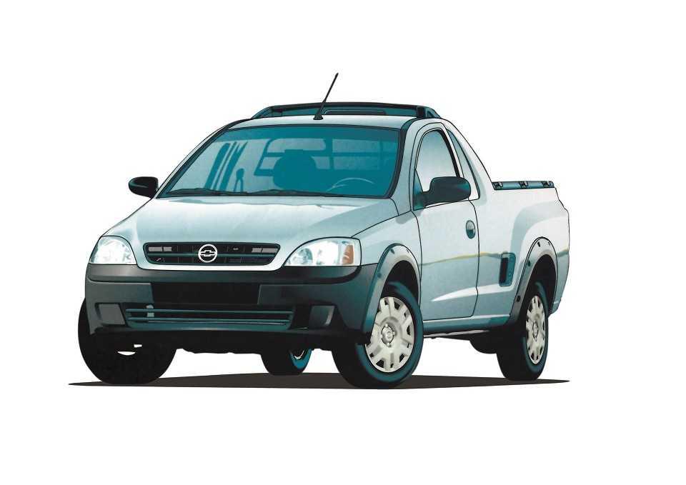 Ilustração da Chevrolet Montana lançada em 2004 no Brasil, projeto que derivou do Corsa