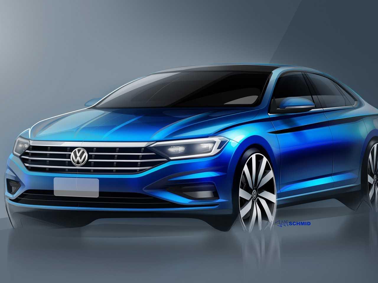 Ilustração antecipando detalhes do novo Volkswagen Jetta 2019