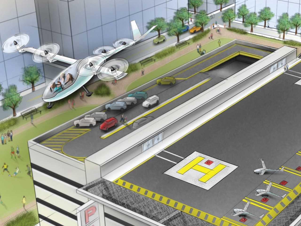 Ilustração mostra um dos carros voadores do Uber chegando a um vertiport