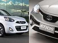 Nissan March e Toyota Etios: duas ótimas opções para quem procura um hatch com bom custo-benefício