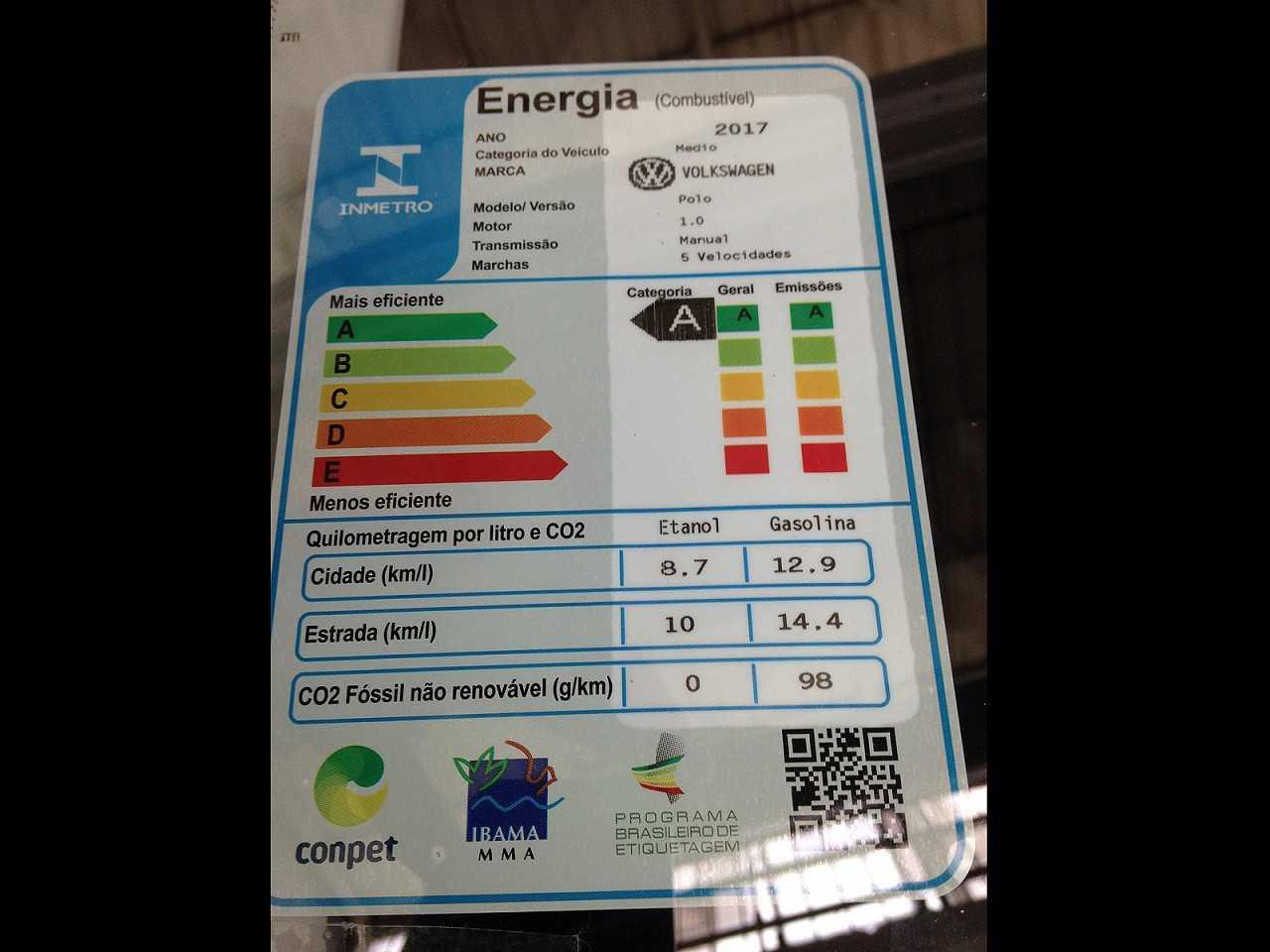 Selo do Programa Brasileiro de Etiquetagem Veicular apontando a versão 1.0 manual de 5 marchas do novo Polo