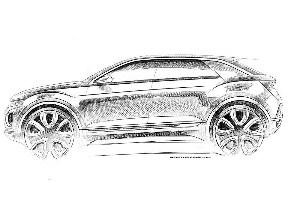 Ilustração antecipando o design do Volkswagen T-Roc