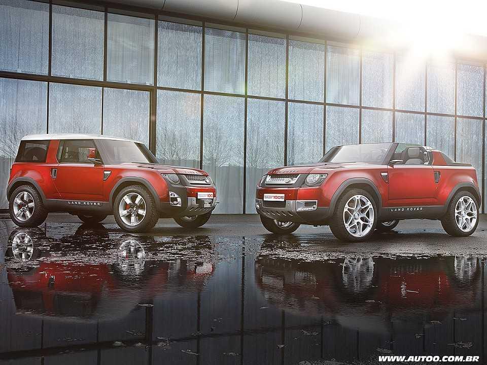Acima o Defender Concept 100, que antecipa o visual da nova geração de um dos modelos mais emblemáticos da Land Rover