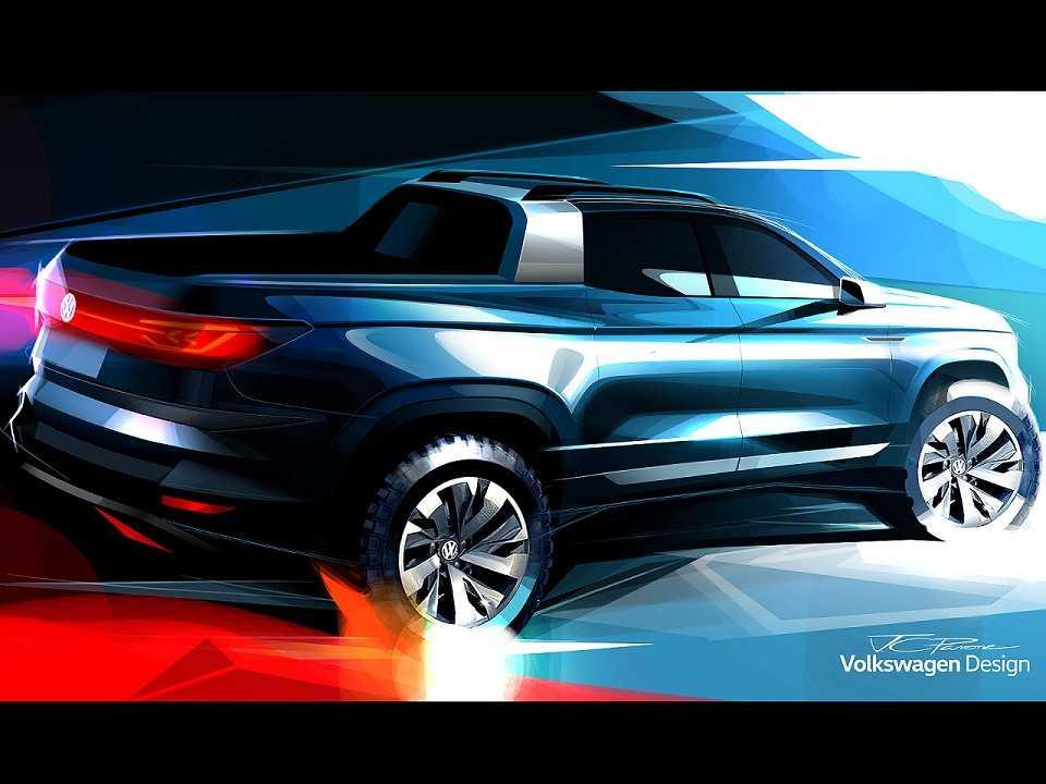 Acima uma esquete da picape compacta-média que a Volkswagen prepara para o mercado brasileiro