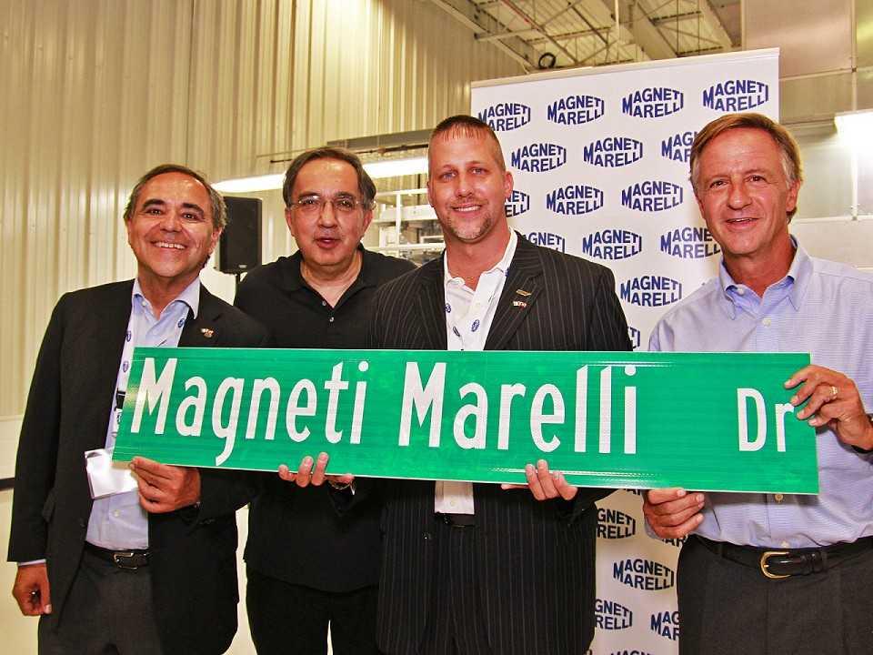 A venda da Magnetti Marelli já estava nos planos do falecido CEO da FCA Sergio Marchionne (segundo da esquerda para direita)