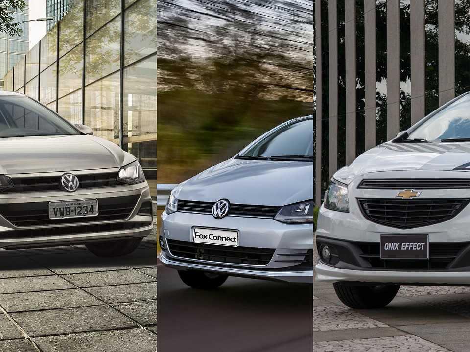 VW Polo, VW Fox e Chevrolet Onix