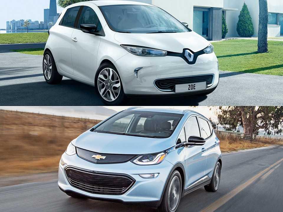 Acima os elétricos Renault Zoe e Chevrolet Bolt