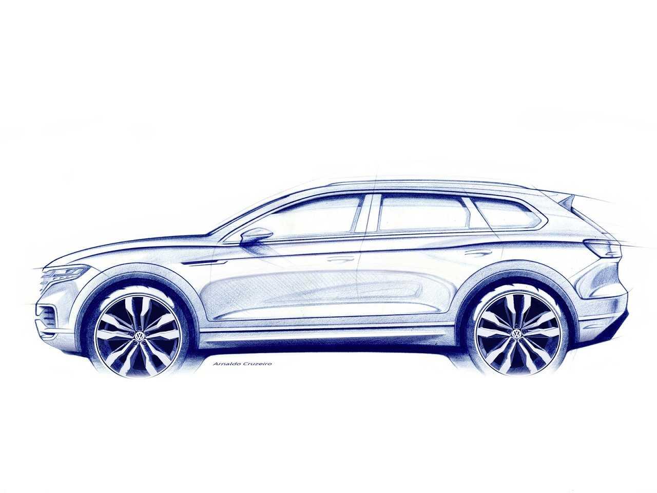 Acima a primeira ilustração do novo Touareg 2019 revelada pela VW