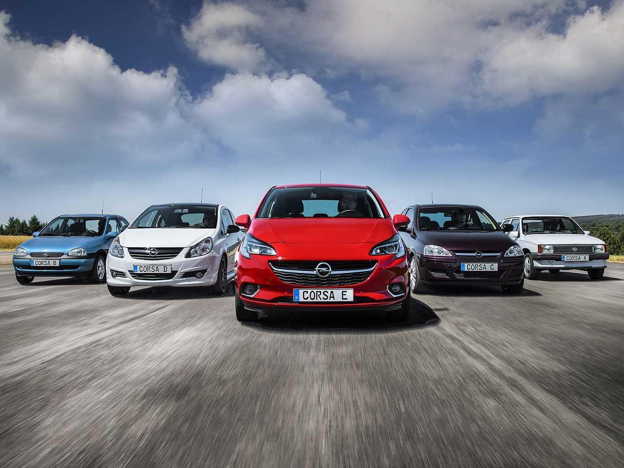 Acima as 5 gerações do Opel Corsa; no Brasil, a segunda e a terceira foram comercializadas