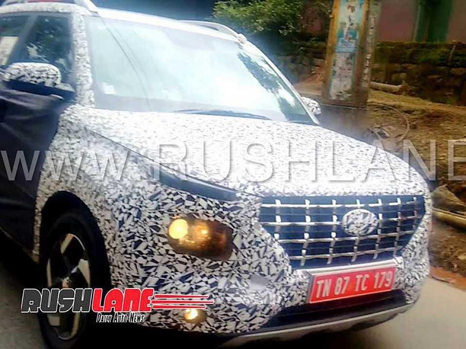 Flagra publicado pelo site RushLane mostrando o novo SUV da Hyundai abaixo do Creta realizando alguns testes