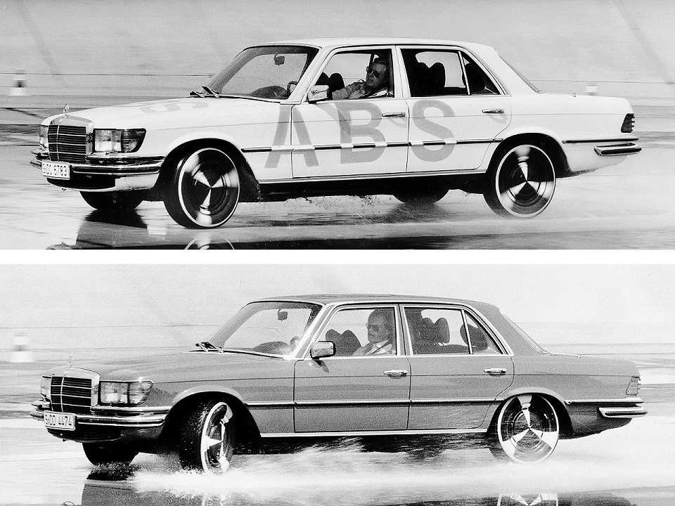 O Mercedes-Benz Classe S em 1978 realizando testes com o sistema de freios ABS