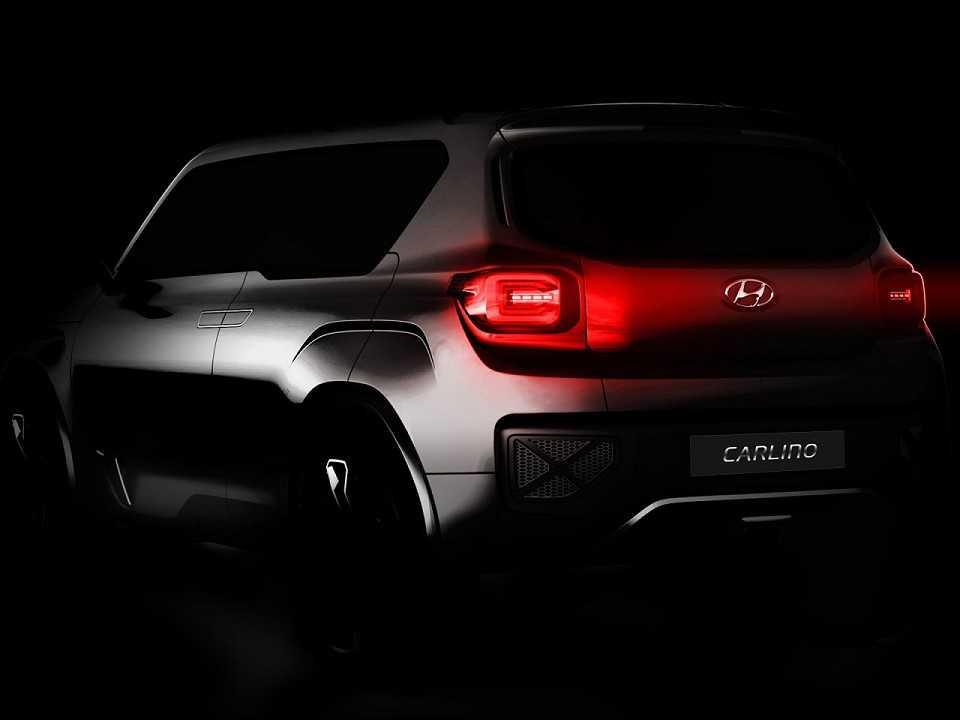 Acima um teaser do conceito Carlino, revelado pela Hyundai em 2016 na Índia