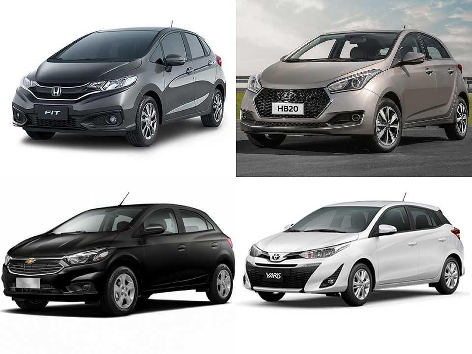 Honda Fit, Toyota Yaris, Hyundai HB20 e Chevrolet Onix