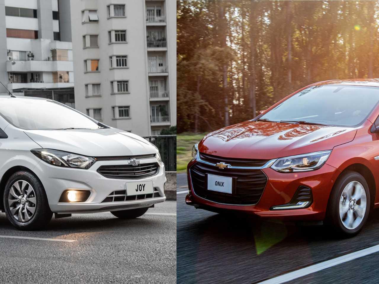 O Joy (ex-Onix) e o novo Onix: mesmo com vendas divididas, hatches da Chevrolet podem fazer dobradinha na liderança do mercado