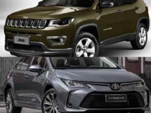 Modelos na faixa de R$ 110.000: Toyota Corolla ou Jeep Compass?