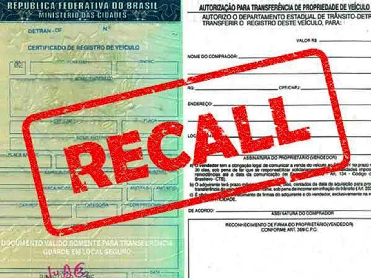 Não realização de recall vai gerar aviso no documento do veículo; acima, apenas uma ilustração