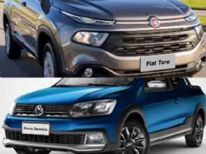 Uma VW Saveiro cabine dupla completa ou uma Fiat Toro de entrada?