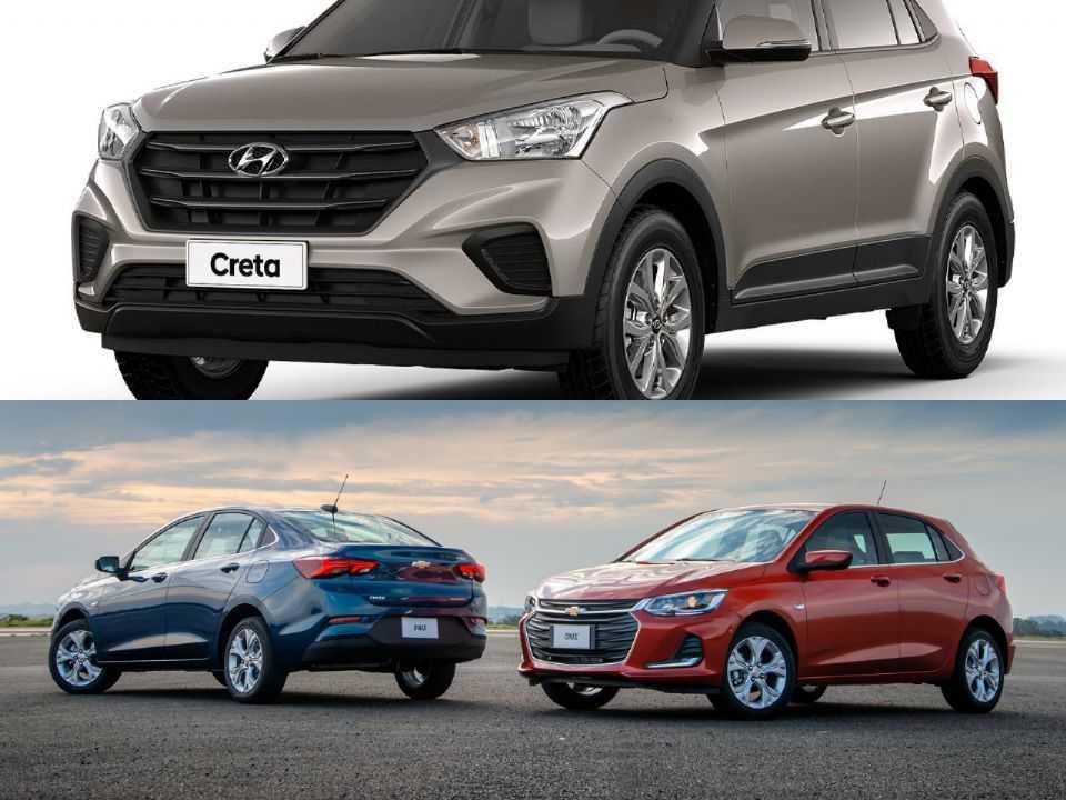 Hyundai Creta e linha Chevrolet Onix e Onix Plus