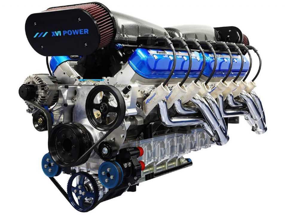 Acima o motor de 14 litros e 16 cilindros produzido pela Sixteen Power