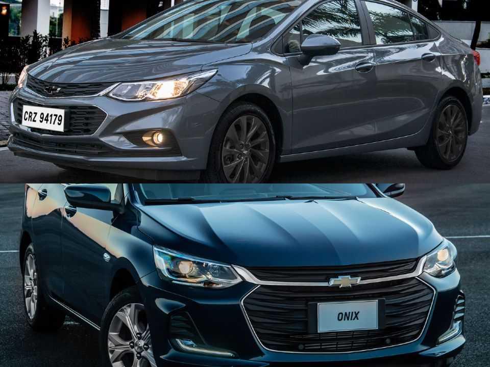 Acima os Chevrolet Cruze e Onix Plus