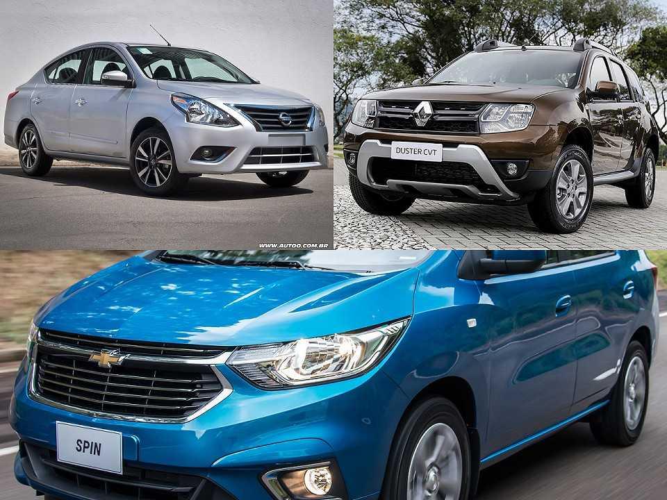 Nissan Versa, Renault Duster e Chevrolet Spin
