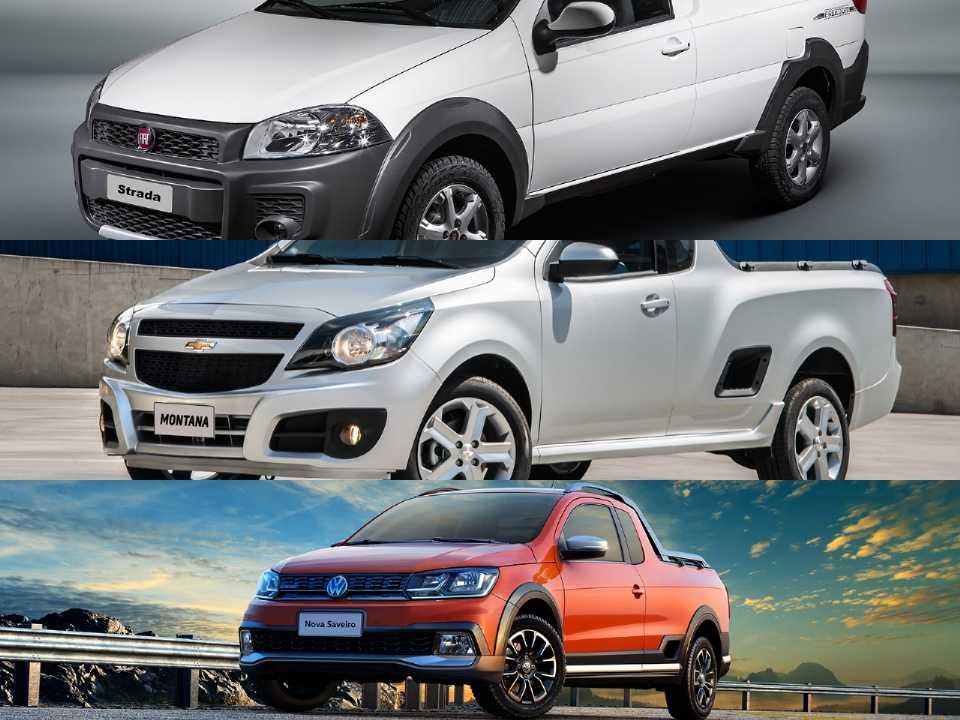 Fiat Strada, Chevrolet Montana e Volkswagen Saveiro