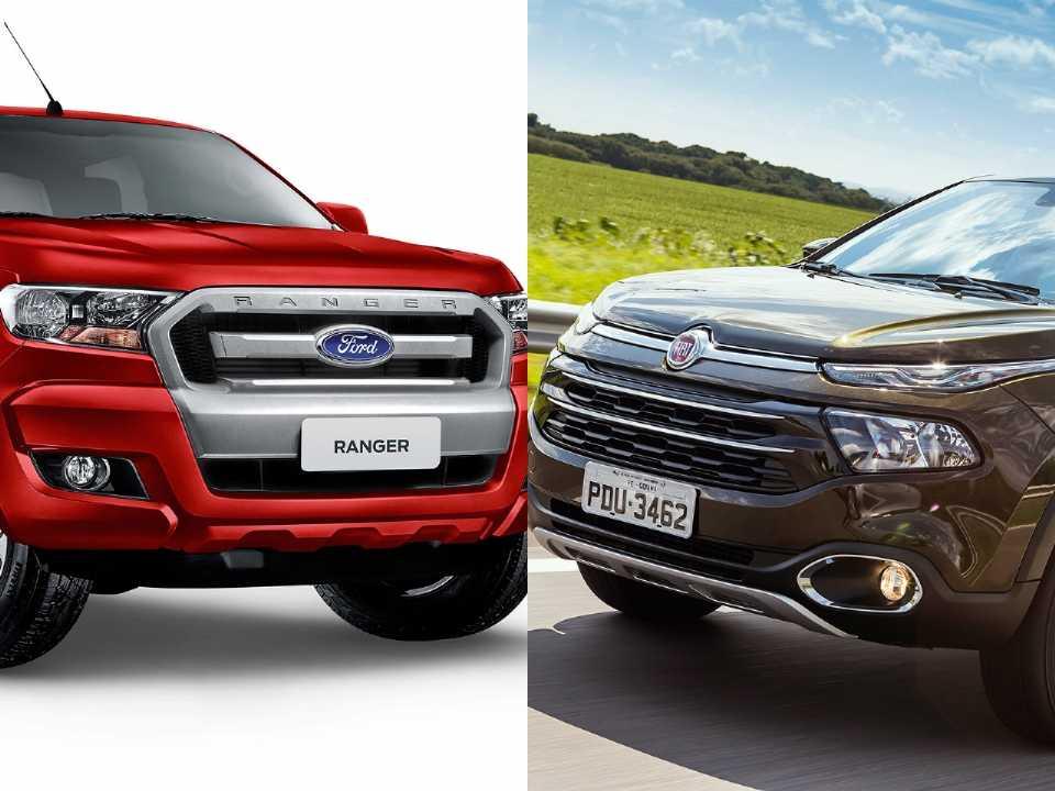 Montagem com a Ford Ranger e a Fiat Toro