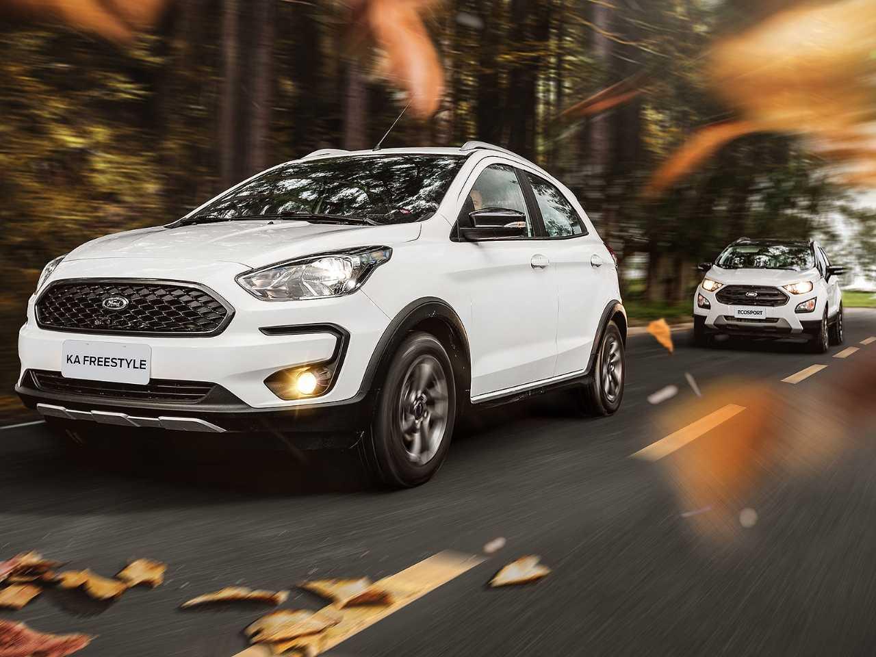 Acima a linha 2020 de Ford Ka FreeStyle e Ford EcoSport FreeStyle