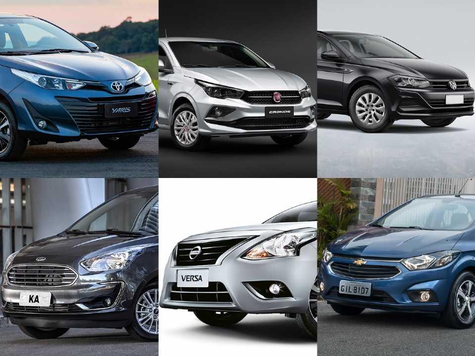 Montagem com alguns dos principais sedans compactos do mercado