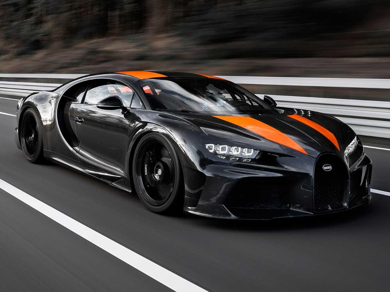 Acima o Bugatti Chiron que estabeleceu o novo recorde de velocidade para automóveis
