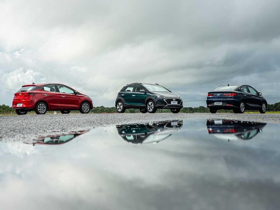 Acima a família Hyundai HB20 em sua nova geração