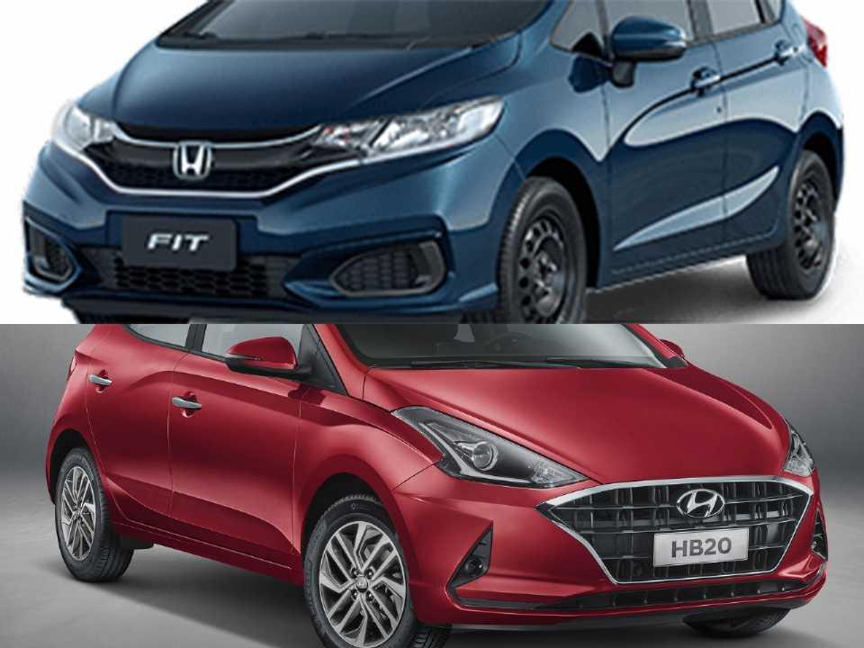 Honda Fit na versão Personal e o novo Hyundai HB20
