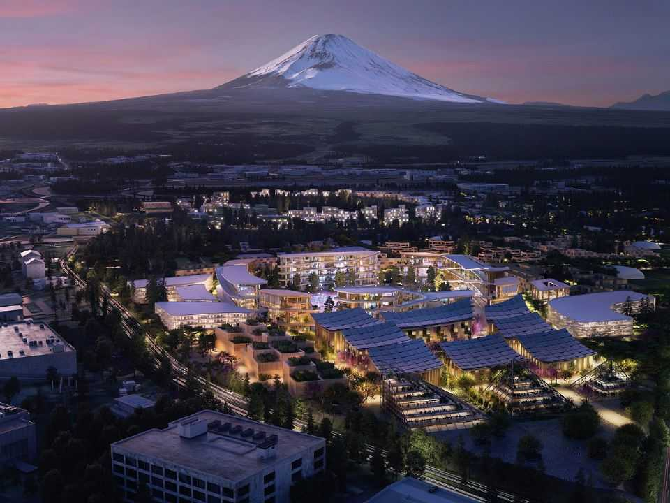 Acima perspectiva da Woven City, nome para a cidade do futuro da Toyota