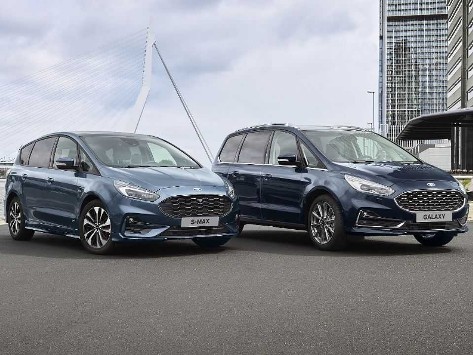 Acima a dupla Ford S-Max Hybrid e Galaxy Hybrid