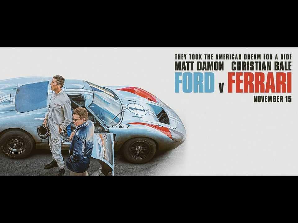 Acima cartaz de divulgação do filme Ford vs Ferrari