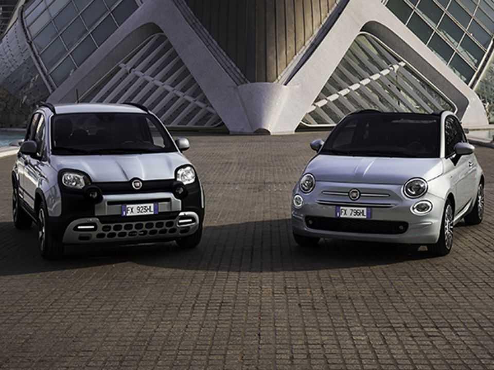 Acima os Fiat Panda e 500 em suas configurações híbridas