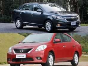 Sedans usados: Chevrolet Cobalt 1.4 ou um Nissan Versa 1.0, ambos 2016?