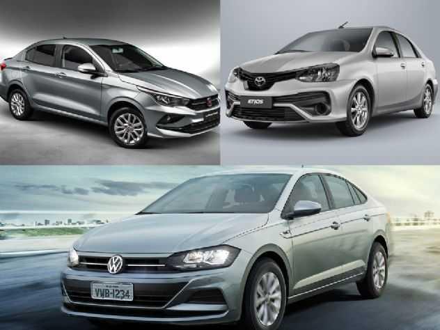 Todos com câmbio manual: Toyota Etios, Fiat Cronos ou VW Virtus?