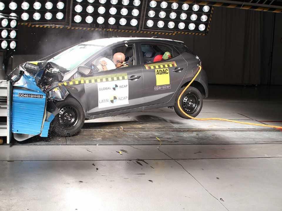 Hyundai HB20 durante novo teste de segurança realizado pelo Latin NCAP