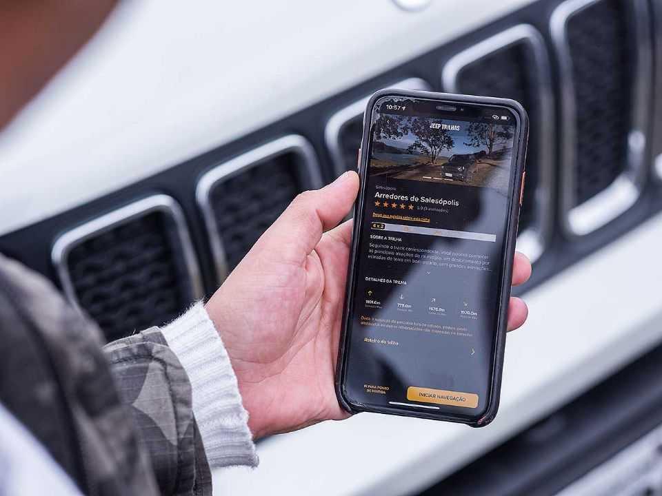 Detalhe do aplicativo Jeep Trilhas