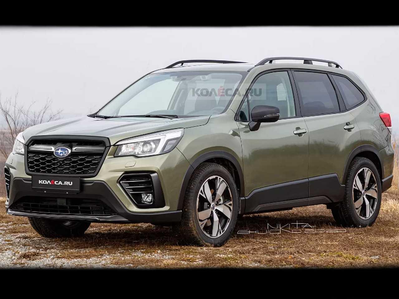 Projeção do site russo Kolesa antecipando o facelift do Subaru Forester