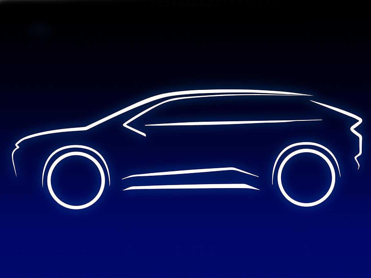 Silhueta do futuro SUV 100 elétrico da Toyota