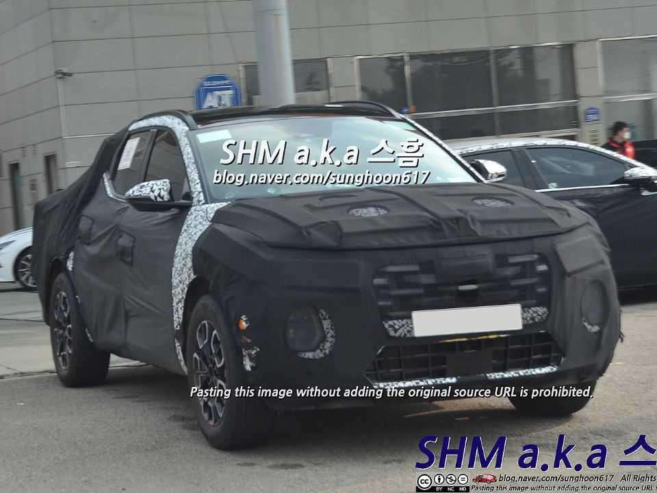 Flagra na Coreia do Sul da futura picape compacta-média da Hyundai: modelo terá elementos do novo Tucson