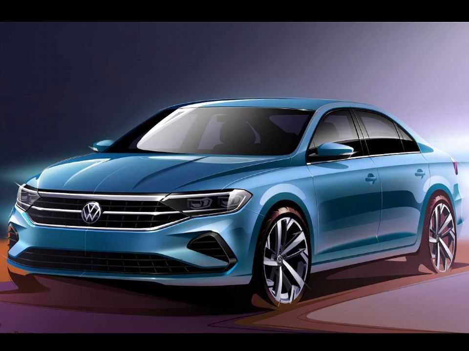 Ilustração do futuro Volkswagen Polo Sedan russo
