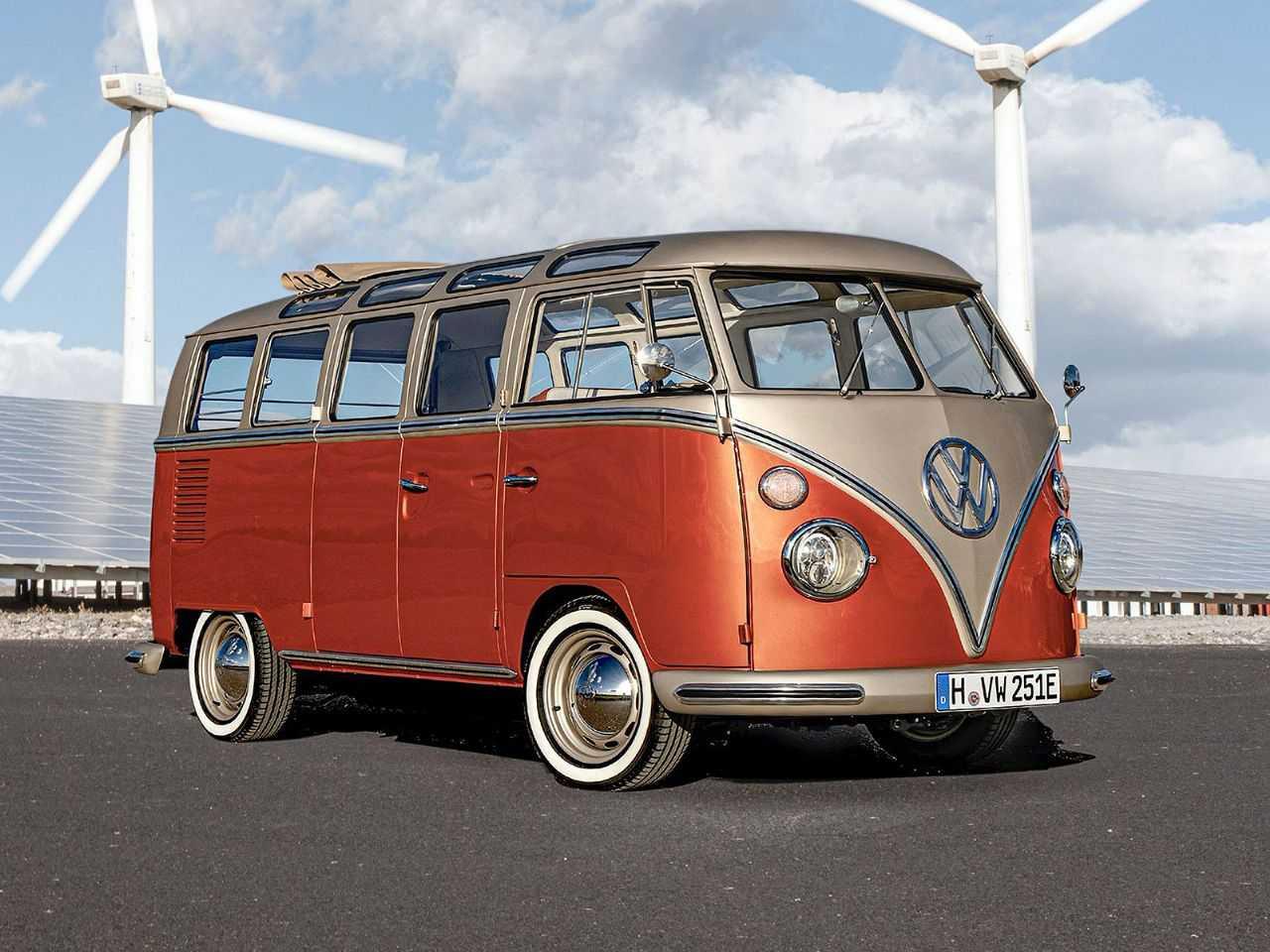 Acima a Kombi com motorização elétrica feita pelo time de veículos comerciais da VW